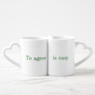 My Agree Quote Set of Heart Handle Mugs