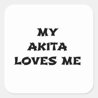 my akita loves me square sticker