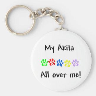 My Akita Walks All over ME Keychain