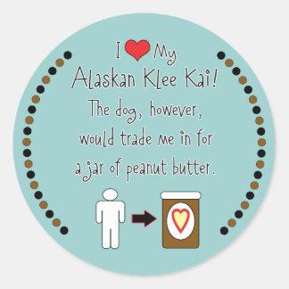 My Alaskan Klee Kai Loves Peanut Butter Sticker