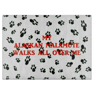my alaskan malamute walks on me cutting board
