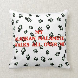 my alaskan malamute walks on me throw pillow
