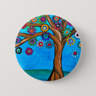 MY ALLY TREE OF LIFE WHIMSICAL PAINTING 2 INCH ROUND BUTTON