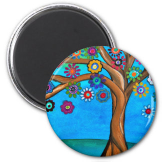 MY ALLY TREE OF LIFE WHIMSICAL PAINTING 2 INCH ROUND MAGNET