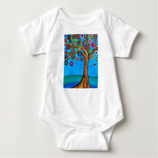 MY ALLY TREE OF LIFE WHIMSICAL PAINTING BABY BODYSUIT