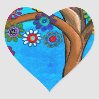 MY ALLY TREE OF LIFE WHIMSICAL PAINTING HEART STICKER