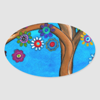 MY ALLY TREE OF LIFE WHIMSICAL PAINTING OVAL STICKER