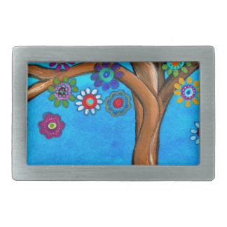 MY ALLY TREE OF LIFE WHIMSICAL PAINTING RECTANGULAR BELT BUCKLE
