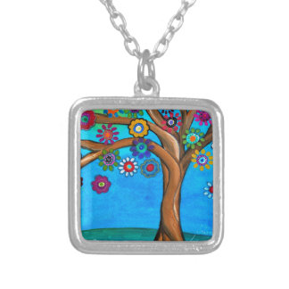 MY ALLY TREE OF LIFE WHIMSICAL PAINTING SILVER PLATED NECKLACE