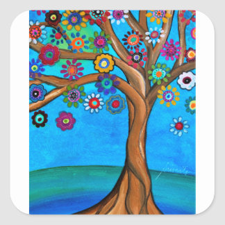 MY ALLY TREE OF LIFE WHIMSICAL PAINTING SQUARE STICKER