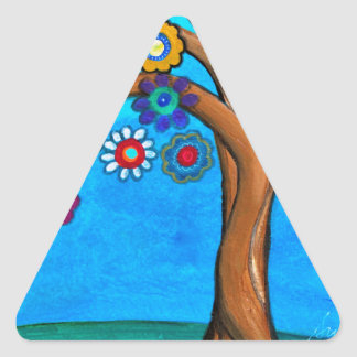 MY ALLY TREE OF LIFE WHIMSICAL PAINTING TRIANGLE STICKER