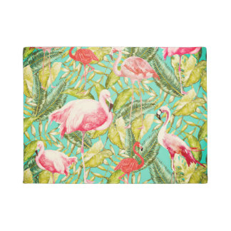 My Aloha Jungle Bird Flamingo Garden Doormat