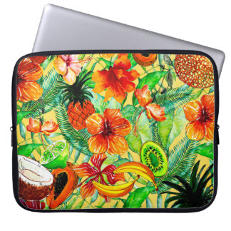 My Aloha Tropical Fruit and Jungle Flower Garden Laptop Sleeve