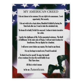 My American Creed USA Proud To Be An American Poster