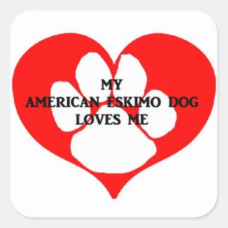 my american eskimo loves me square sticker