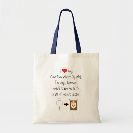 My American Water Spaniel Loves Peanut Butter Tote Bags