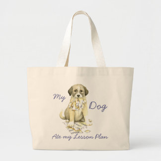 My Anatolian Ate My Lesson Plan Large Tote Bag