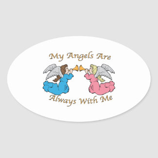 My Angels Are Always With Me Oval Stickers