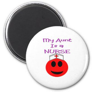 My Aunt is a Nurse RED SMILEY 2 Inch Round Magnet