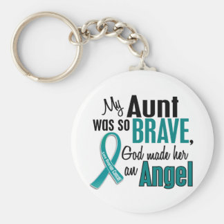 My Aunt Is An Angel 1 Ovarian Cancer Keychain