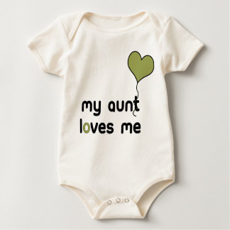 My Aunt loves me olive green Heart Balloon Baby Bodysuit