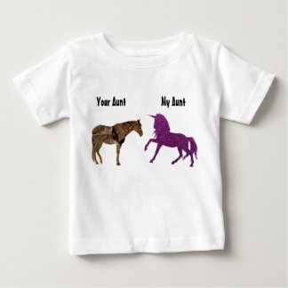My Aunt Your Aunt Horse Glitter Purple Unicorn Baby T-Shirt