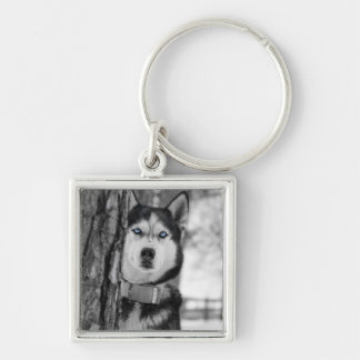 My Baby Blue Eyes Silver-Colored Square Keychain