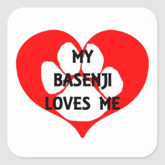 my basenji loves me square sticker