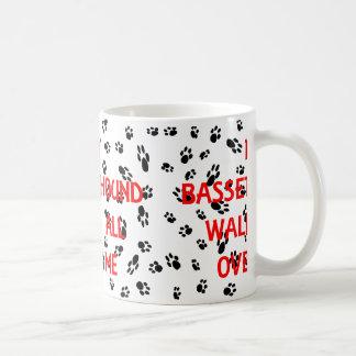 my basset hound walks on me coffee mug