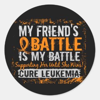 My Battle Too 2 Leukemia Friend Female Round Sticker