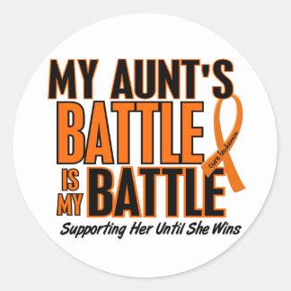 My Battle Too Aunt Leukemia Round Sticker