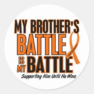 My Battle Too Brother Leukemia Round Sticker