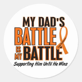 My Battle Too Dad Leukemia Round Sticker