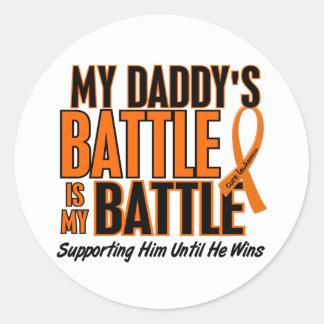 My Battle Too Daddy Leukemia Round Sticker