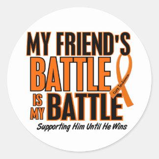 My Battle Too Friend Leukemia Round Sticker