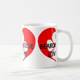 my bearded collie loves me coffee mug