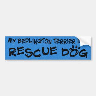 My Bedlington Terrier is a Rescue Dog Bumper Sticker