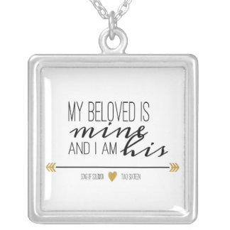My Beloved is Mine, Scripture Silver Plated Necklace
