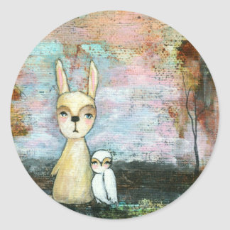 My Best Friend, Baby Rabbit, Baby Owl Abstract Art Classic Round Sticker