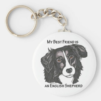 My best friend is a Black & White English Shepherd Keychain