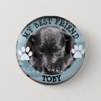 My Best Friend, Pawprints Dog Photo Button