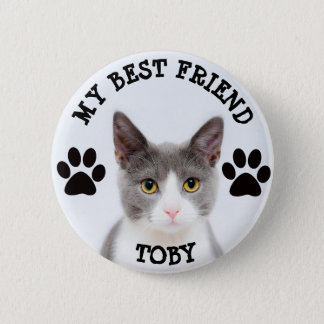 My Best Friend, Pawprints Kitty Cat Photo Button