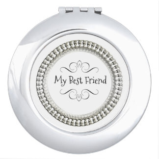 """"""" My Best Friend"""" Round* Silver& Black  Ornate Mirrors For Makeup"""