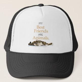My best friends are animals cat watercolor trucker hat
