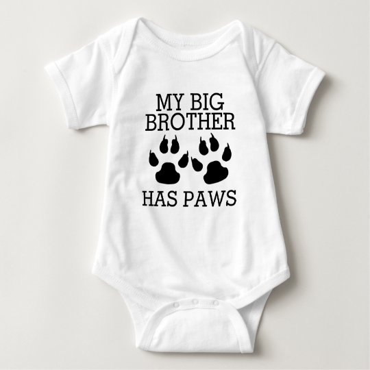 My Big Brother Has Paws Baby Bodysuit