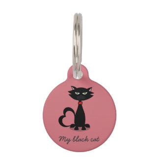 My black cat love identification tag - framboise