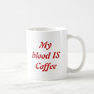 My blood is coffee basic white mug