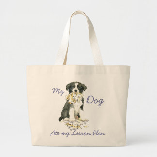 My Border Collie Ate my Lesson Plan Large Tote Bag