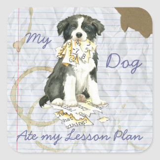My Border Collie Ate my Lesson Plan Square Sticker