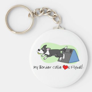 My Border Collie Loves Flyball Keychain